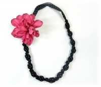Fabric Necklace & Burnt Wired Ribbon Flower