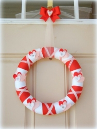 Valentine's Day Wrapped Ribbon Wreath
