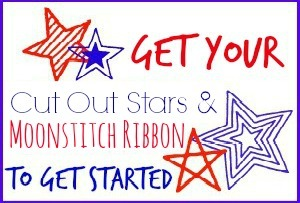 Cut Out Stars and Moonstitch Ribbon utton