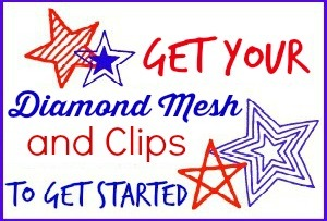 Diamond Mesh and Clips Button
