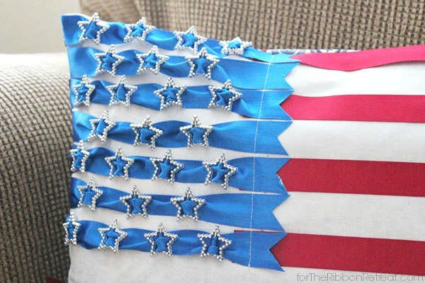 Patriotic Ribbon Flag Pillow - The Ribbon Retreat Blog