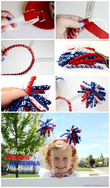 4th of July Ribbon and Antenna Headbands - The Ribbon Retreat Blog