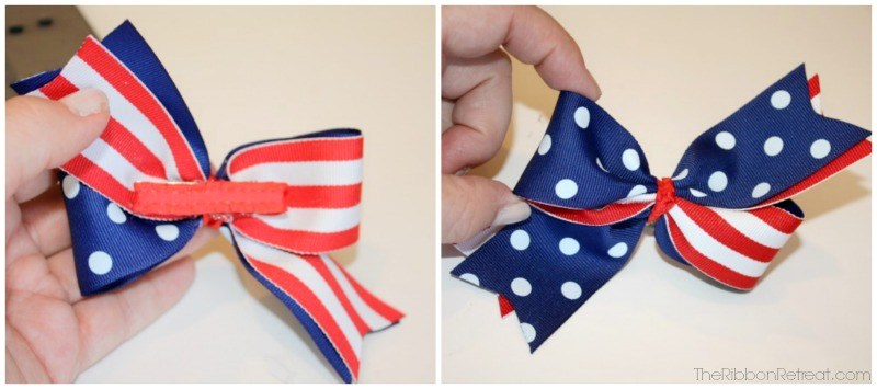 Patriotic Two Color Twisted Hair Bows - The Ribbon Retreat Blog