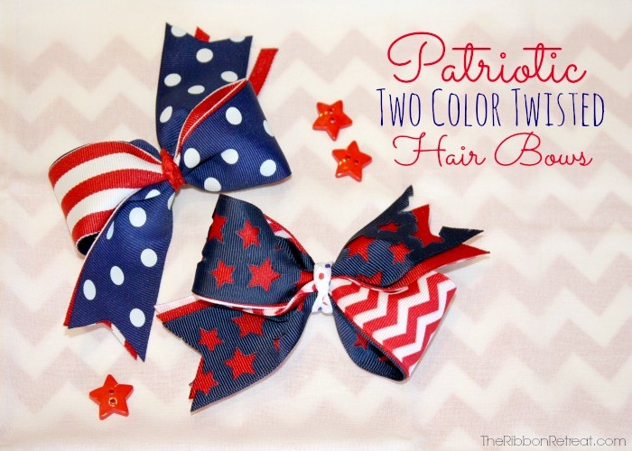 Patriotic Two Color Twisted Bow25a