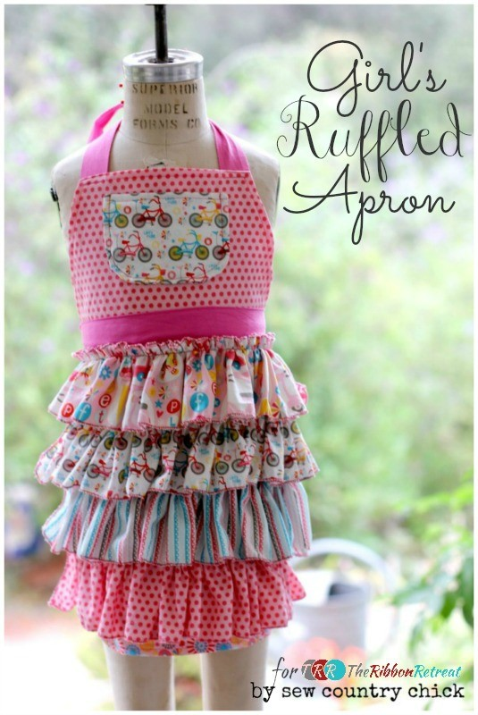 Girl's Ruffled Apron - The Ribbon Retreat Blog