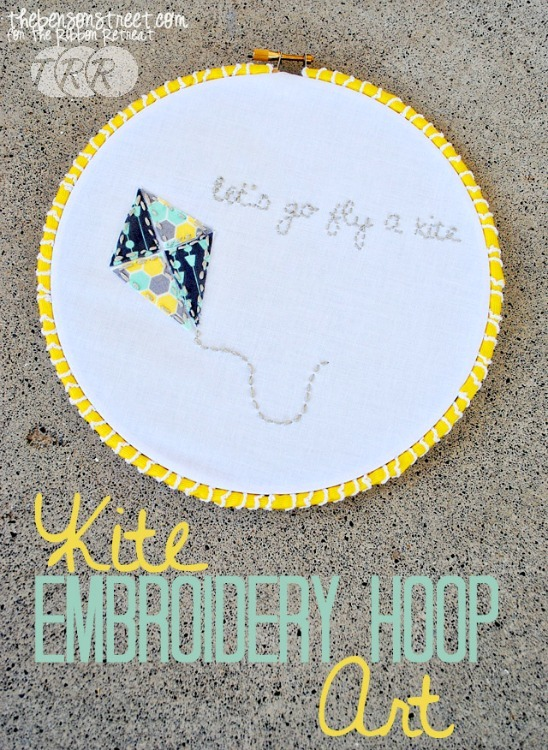 "Kite Embroidery Hoop Art {A-Z Series, ""K""}"