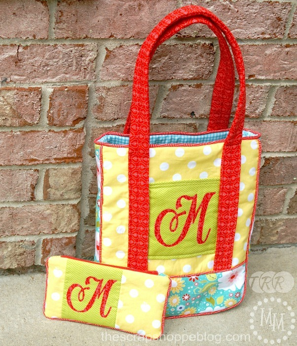 Monogrammed Library Tote and Zipper Pouch - The Ribbon Retreat Blog