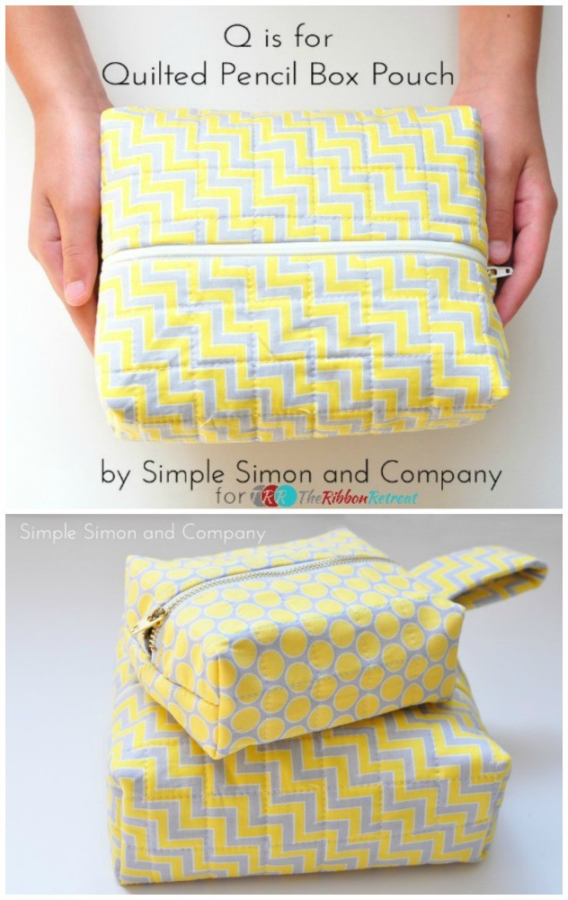 "Quilted Pencil Box Pouch {A-Z Series ""Q""} - The Ribbon Retreat Blog"