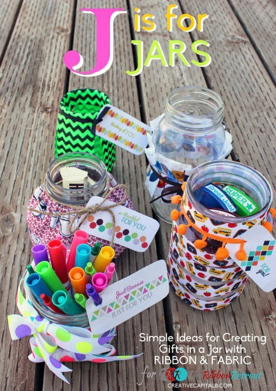 "Ribbon Jar Gifts and Printable Jar Tags {A-Z Series, ""J""}"
