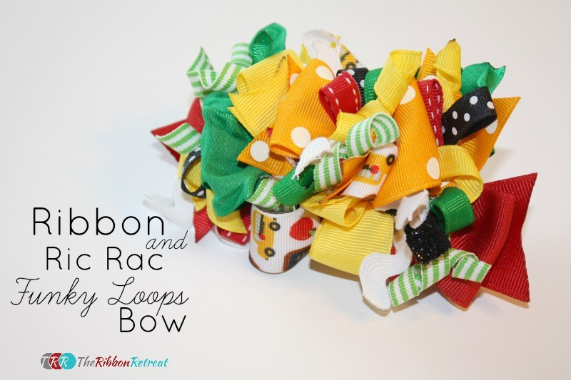 "Ribbon and Ric Rac Funky Loops Bow {A-Z Series, ""R""}"