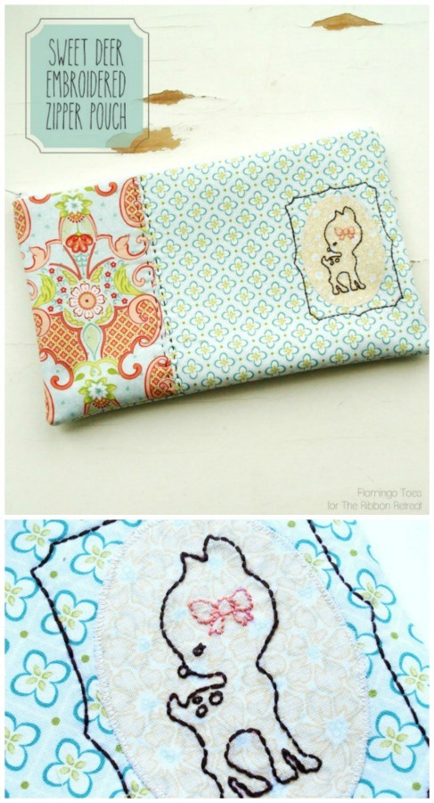 Sweet Deer Embroidered Zipper Pouch - The Ribbon Retreat Blog