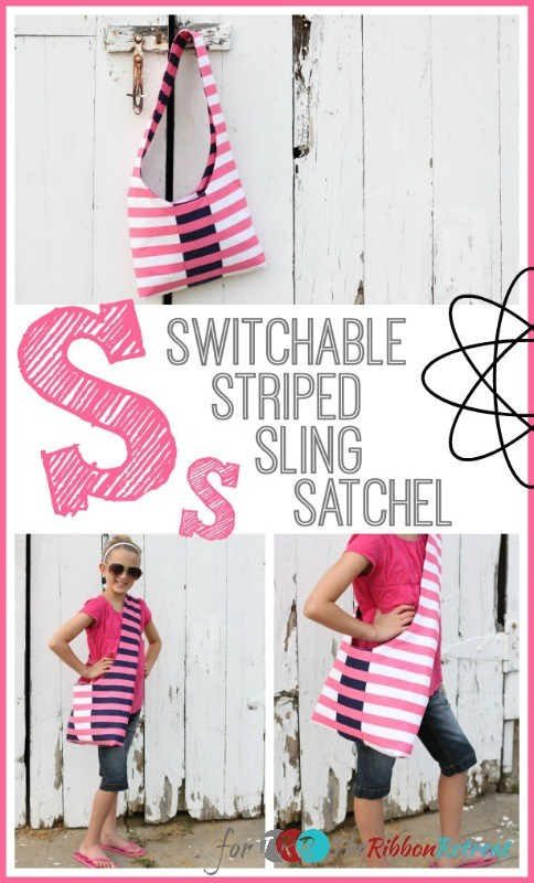 "Switchable Striped Sling Satchel {A-Z Series, ""S""}"