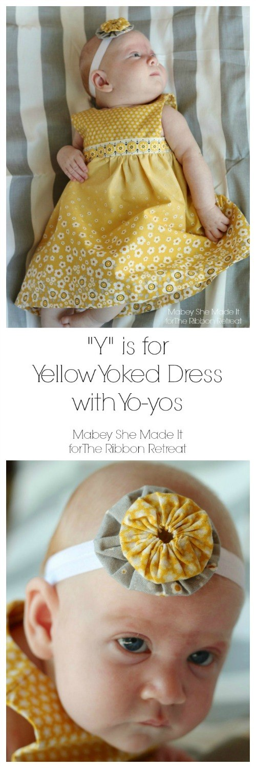 "Yellow Yoke Dress with Yo-Yo Headband {A-Z Series, ""Y""} - The Ribbon Retreat Blog"