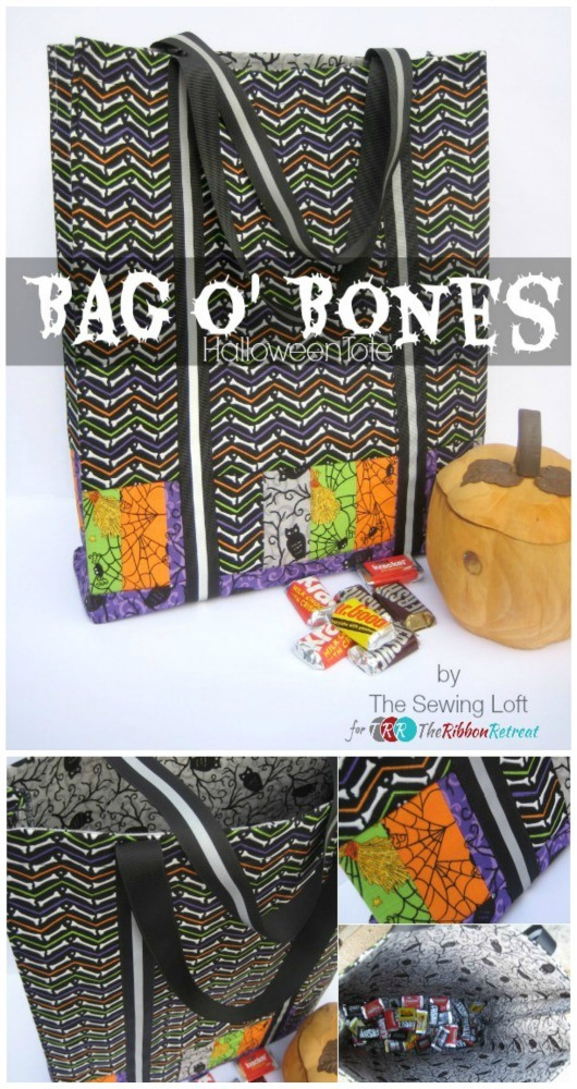 Bag O' Bones Halloween Tote - The Ribbon Retreat Blog