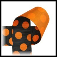 Black with Orange Polka