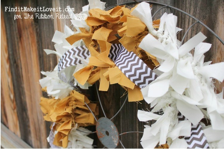 Fall Fabric Rag Wreath - The Ribbon Retreat Blog