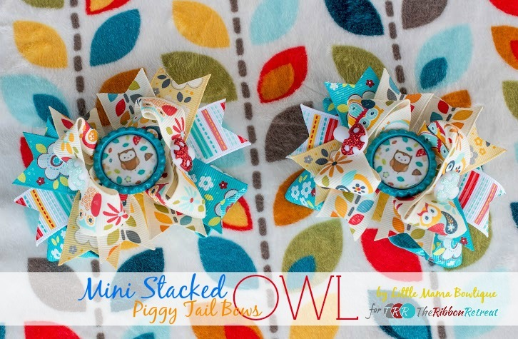 Owl Mini Stacked Piggy Tail Bows