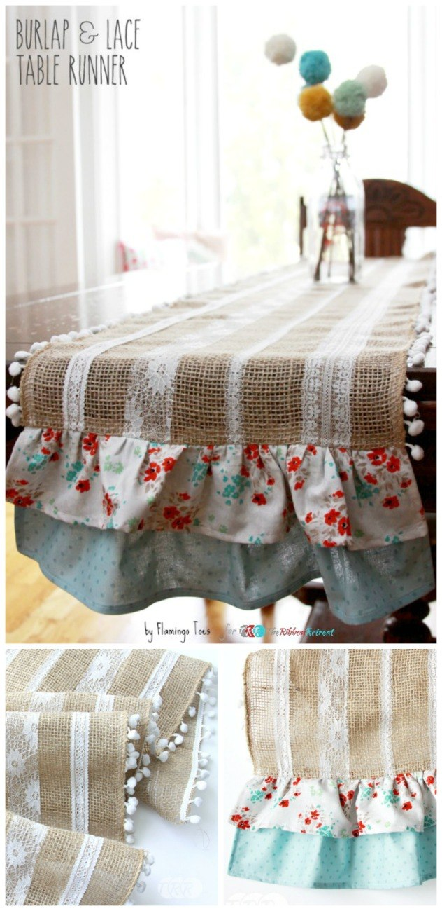 Easy Burlap and Lace Table RunnerThe Ribbon Retreat Blog
