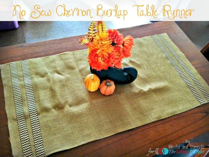 No Sew Chevron Burlap Table Runner - The Ribbon Retreat Blog
