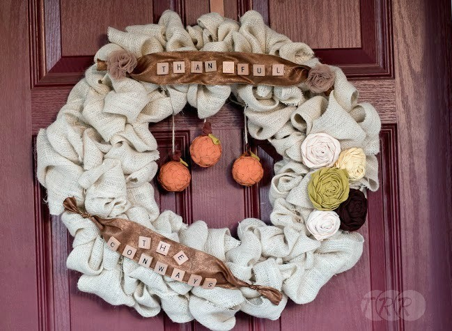 Thanksgiving Burlap Wreath - The Ribbon Retreat Blog