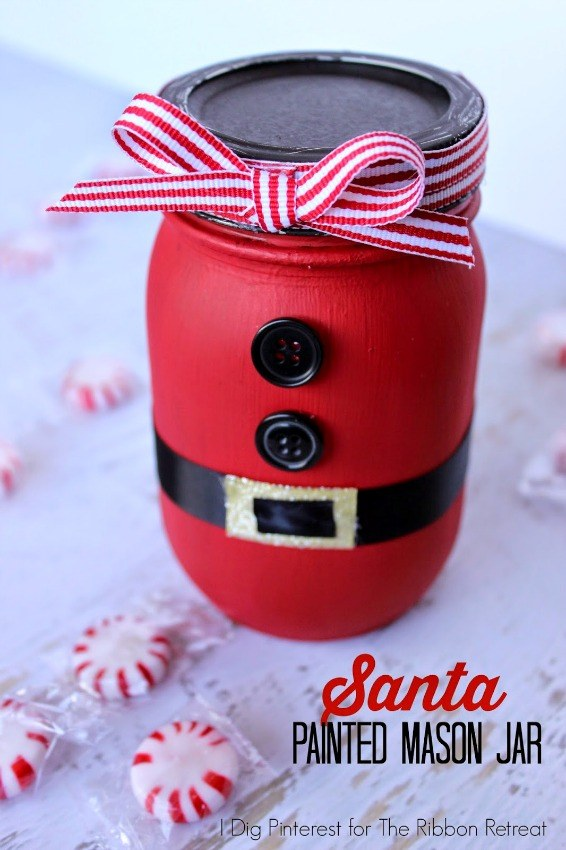 Santa Painted Mason Jar