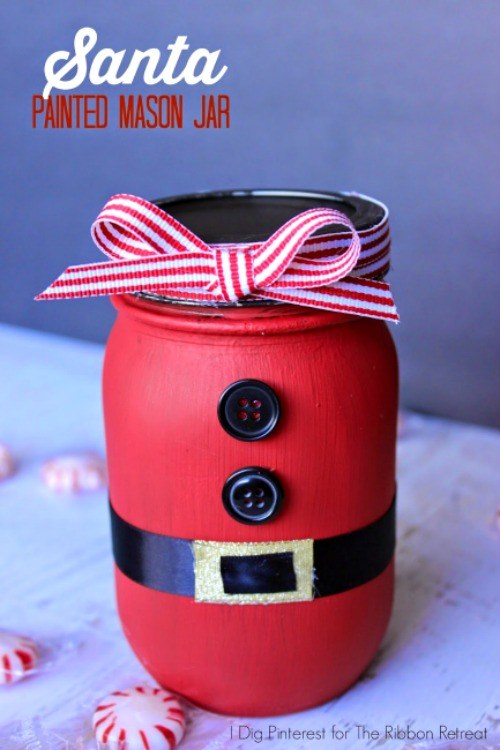 Santa Painted Mason Jar The Ribbon Retreat Blog