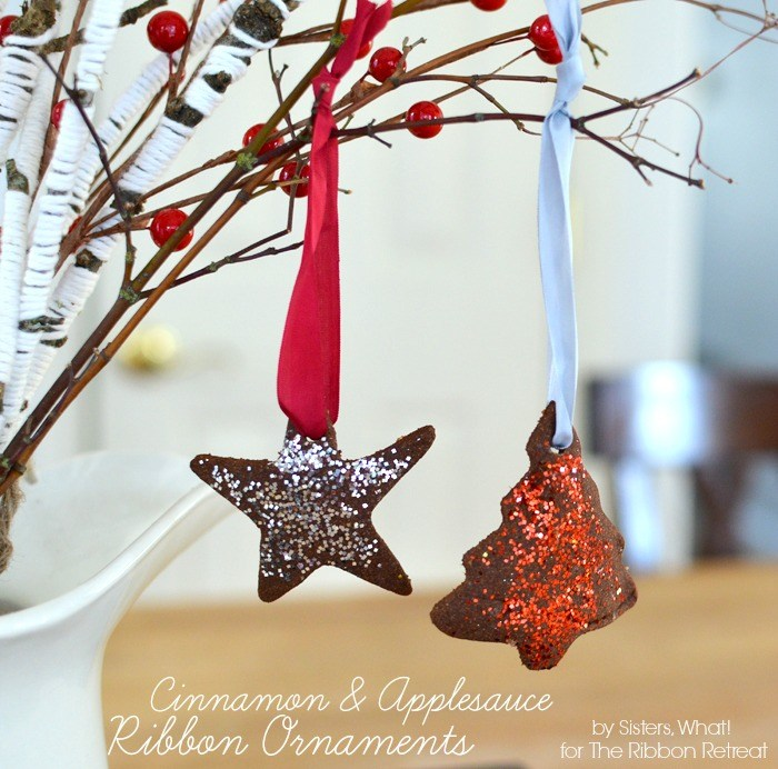 Cinnamon and Applesauce Ribbon Ornaments