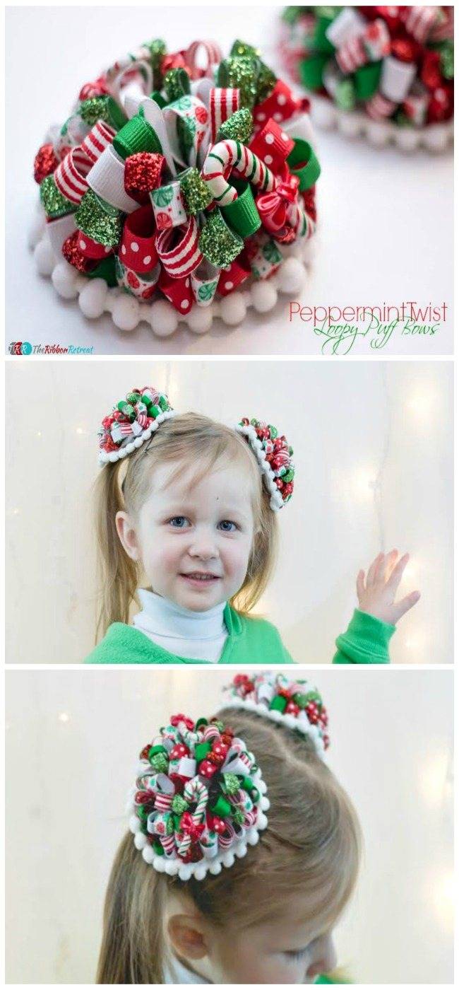 Peppermint Twist Loopy Puff Bows - The Ribbon Retreat Blog