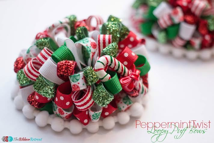 Peppermint Twist Loopy Puff Bows