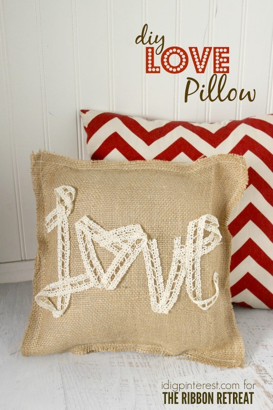 Burlap and Lace Love Pillow
