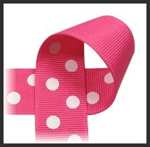 Hot Pink with White polka