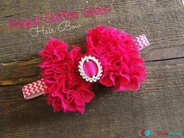 Frayed Chiffon Grass Hair Bow - The Ribbon Retreat Blog