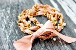 Vintage Ribbon and Chain Wrap Bracelet