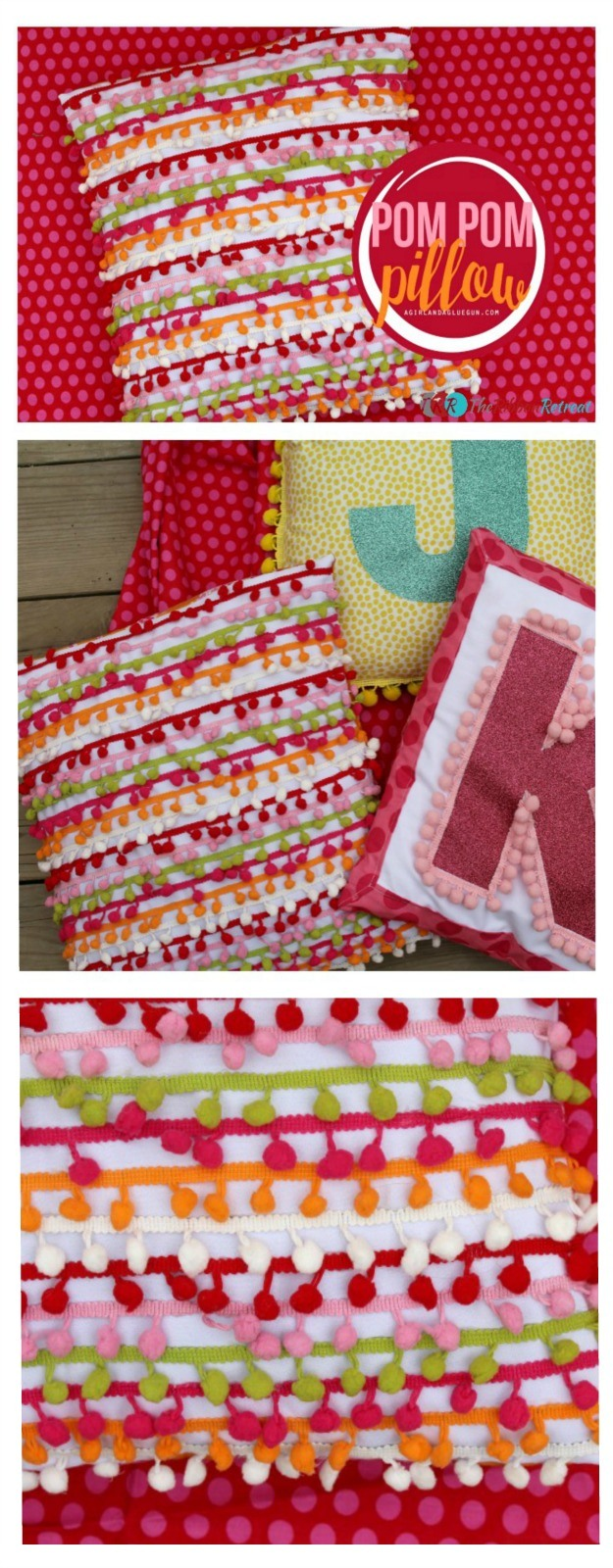 Pom Pom Pillow - The Ribbon Retreat Blog