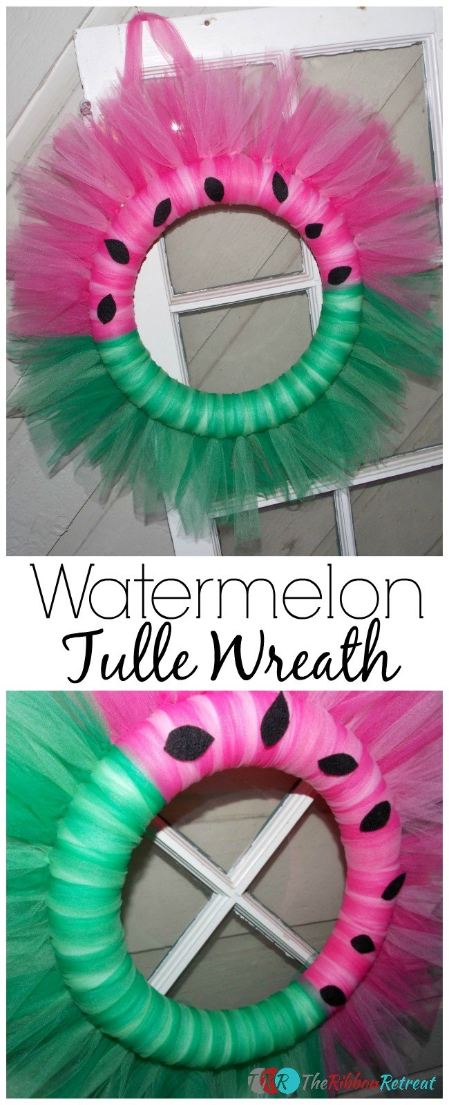 Watermelon Tulle Wreath - The Ribbon Retreat Blog