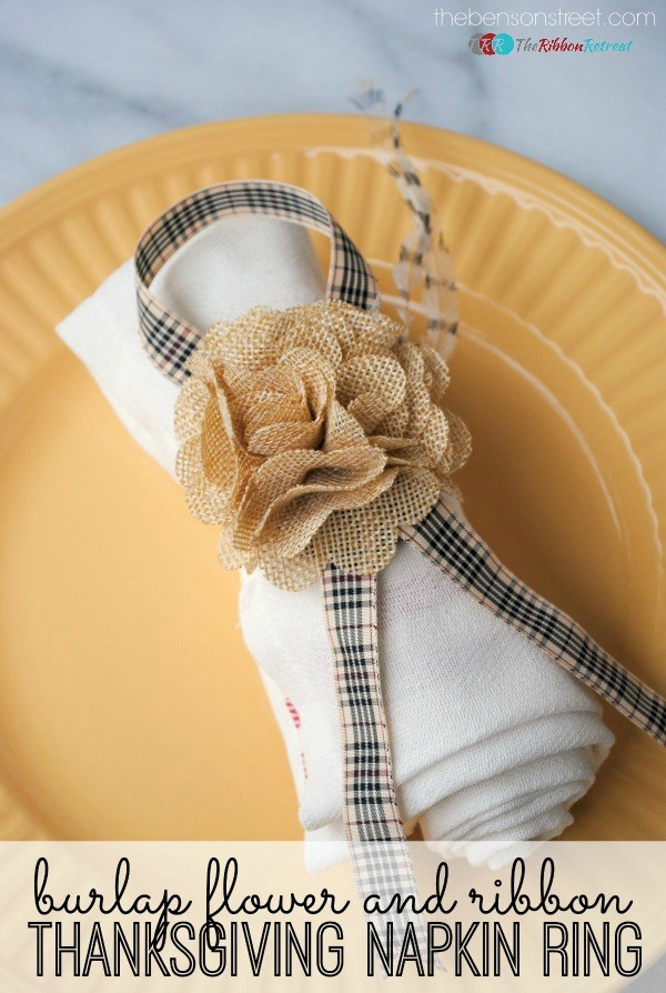 Burlap Flower and Ribbon Thanksgiving Napkin Ring Tutorial - The Ribbon Retreat Blog