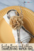Burlap Flower and Ribbon Thanksgiving Napkin Ring