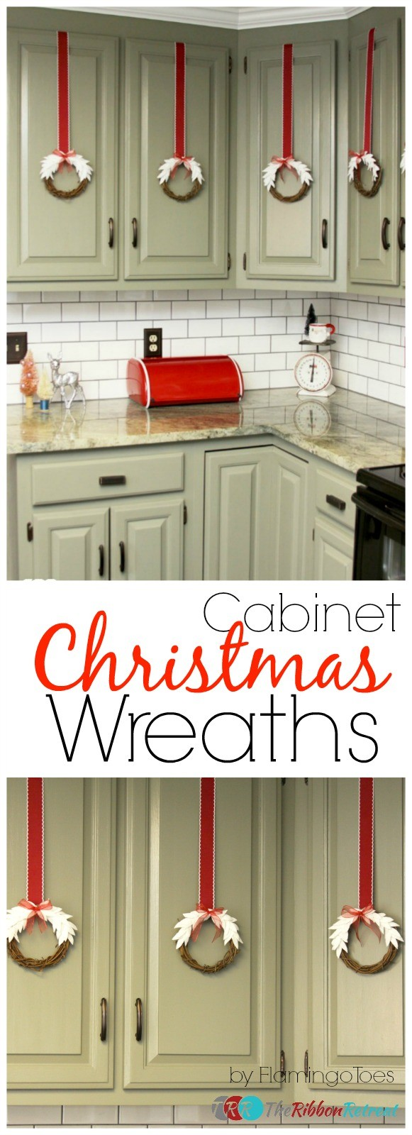 Cabinet Christmas Wreaths - The Ribbon Retreat Blog