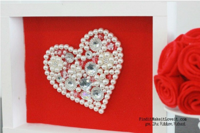 Jewel Embellished Heart & Felt Decor - The Ribbon Retreat Blog