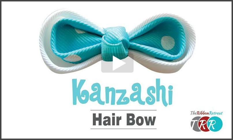 Kanzashi Hair Bow, YouTube Video - The Ribbon Retreat Blog