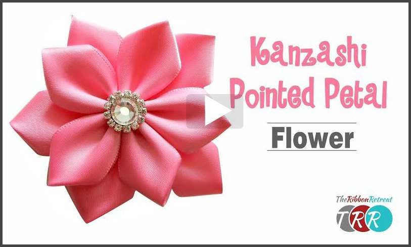 Kanzashi Pointed Petal Flower, YouTube Video - The Ribbon Retreat Blog