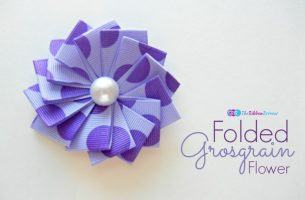 Folded Grosgrain Flower