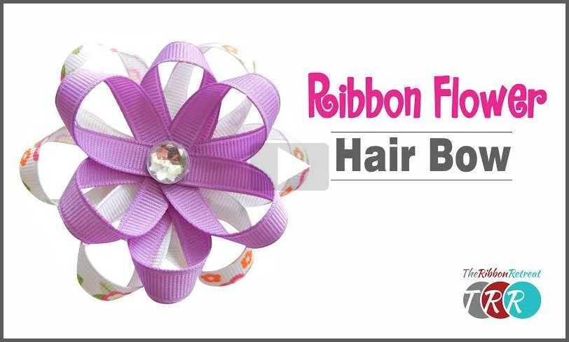Ribbon Flower Hair Bow, YouTube Video - The Ribbon Retreat Blog