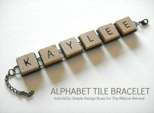 Easy to make alphabet tile bracelet.