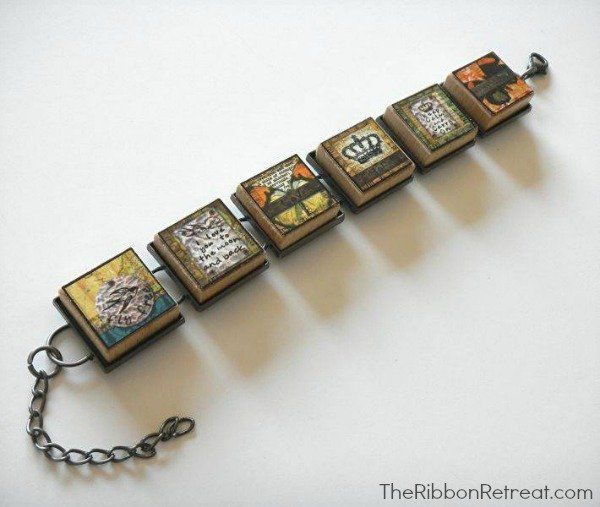 Using paper, photos, and more on alphabet tiles creates beautiful jewelry.