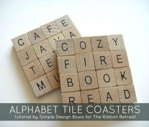 Lovely gifts for the home! Alphabet Tile Coasters tutorial.
