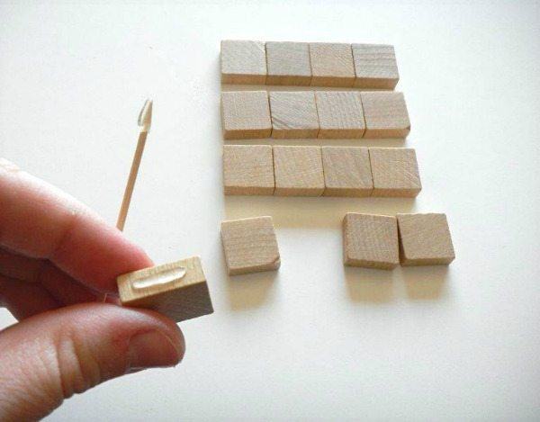Glue the tiles together line by line. Use a toothpick to help.
