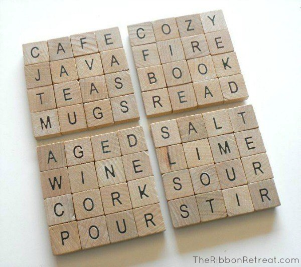 Create fun scrabble inspired coasters for your home or as a gift!