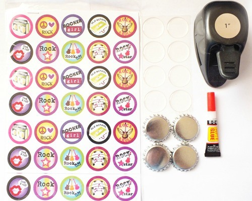 Supplies to make your own bottle caps for hair bows.