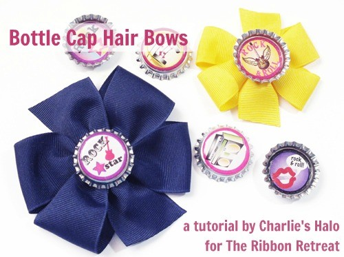Learn how to make cute bottle caps and attach them to hair bows.